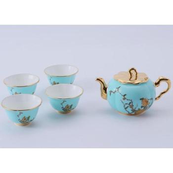金和汇景-夫人瓷西湖蓝6头功夫茶具