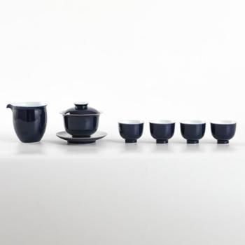 金和汇景-高温颜色釉祭蓝六头茶具