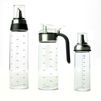 海畅玻璃油壶厨房防漏油罐油瓶450ml/330ml/160ml组合