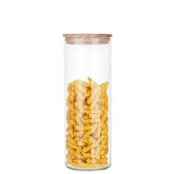 海畅竹木盖玻璃瓶密封罐储物罐面条罐1500ml