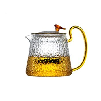 海畅单个日式简约锤目纹茶壶耐热透明玻璃泡茶壶800ml