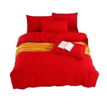 高引铺绣娘中国红精品四件套纯棉包含1床单、2枕套、1被罩