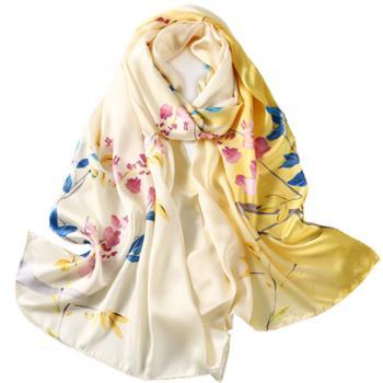 丝语棠16姆米重磅素绉缎桑蚕丝长巾-花枝蔓蔓系列