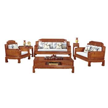 久鼎鸿福蜀台红椿木沙发单人、双人、三人、茶几、角几