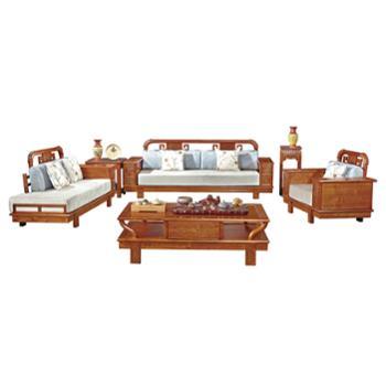 久鼎鸿福蜀台红香椿沙发单人双人三人茶几方几