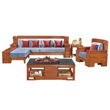 久鼎鸿福蜀台红香椿沙发单人双人三人茶几